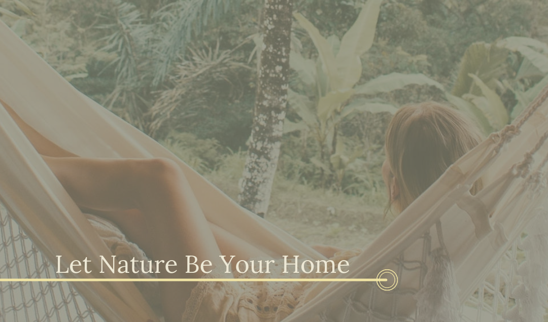 New Habitz - Eco retreat feel with a lady in a hammock looking at pretty - let nature be your home.